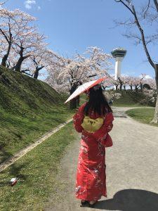 桜,浴衣,五稜郭タワー