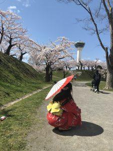 桜,五稜郭タワー,浴衣