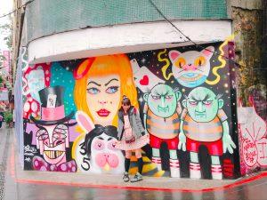 西門町,台湾,台北,壁,カラフル,不思議の国のアリス