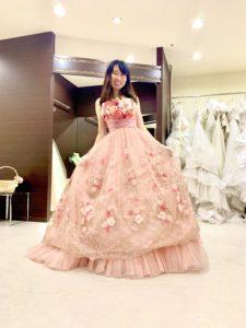 カクテルドレス,ピンク,お花